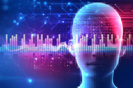 Forme d'onde audio colorée sur fond humain virtuel, représente la technologie de l'égaliseur numérique