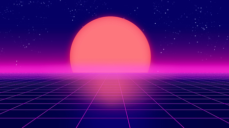 レトロな未来的な背景 1980 年代スタイルの 3 d イラスト。Cyber の世界でデジタル風景。音楽アルバムのカバーとして使用します。