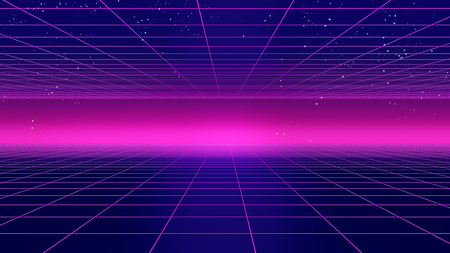Retro futuristic background 1980s style 3d illustration. Digital landscape in a cyber 