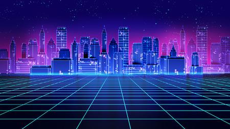 Retro futuristic skyscraper city 1980s style 3d illustration. Digital landscape in a cyber world. For use as music album cover . Banco de Imagens