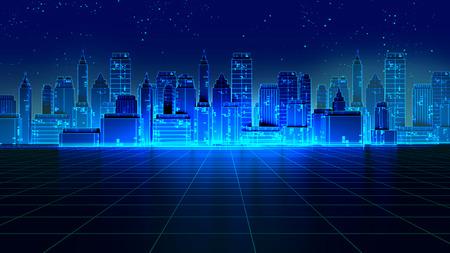 Retro futuristico grattacielo città 1980s stile illustrazione 3d. Paesaggio digitale in un mondo informatico. Da utilizzare come copertina di album di musica. Archivio Fotografico