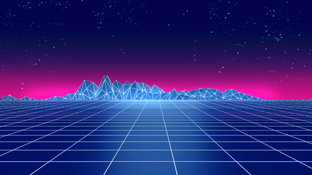 Retro futuristic background 1980s style 3d illustration. Digital landscape in a cyber world. For use as music album cover .