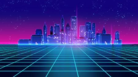 Retro futuristic skyscraper city 1980s style 3d illustration. Digital landscape in a cyber  world. For use as music album cover .