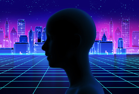 silhouette of virtual human on retro skyscraper city 3d illustration  represent artificial technology.