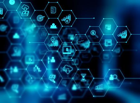 icono de Fintech en el resumen de antecedentes de la tecnología financiera y representan Blockchain concepto de tecnología Fintech internet inversión financiera.