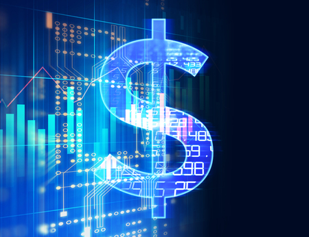 Dollarzeichen auf abstraktem Finanztechnologiehintergrund stellen Blockchain- und Fintech-Investitions-Finanzinternet-Technologiekonzept dar. Standard-Bild - 75396543
