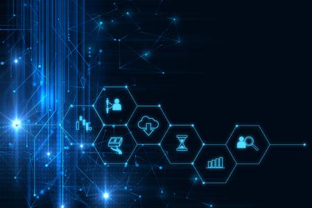 fintech pictogram op abstracte financià «le technologie achtergrond vertegenwoordigen Blockchain en Fintech Investment Financial Internet Technology Concept. Stockfoto