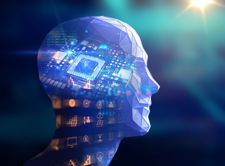 electronic circuit: double exposure image of low polygon human head 3d illustration on blue circuit board and financial technology icon