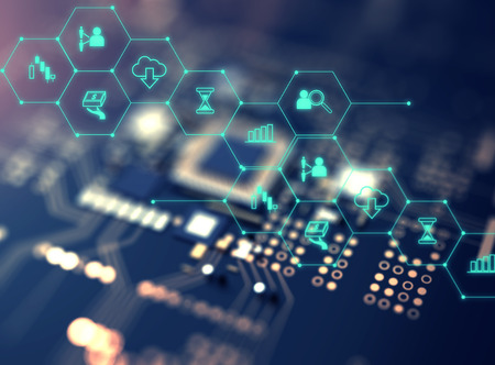 Fintech-Symbol auf abstrakte Finanztechnologie Hintergrund repräsentieren Blockchain und Fintech Investment Financial Internet Technology Concept. Standard-Bild - 75476963