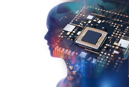 electronic circuit: double exposure image of low polygon human head 3d illustration on blue circuit board background represent  artificial intelligence AI technology