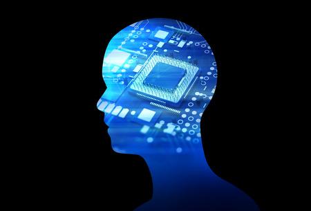 double exposure: double exposure image of low polygon human head 3d illustration on blue circuit board background represent  artificial intelligence AI technology