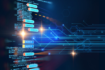cadenas: red de la cadena de bloques y el concepto de programación en el fondo la tecnología
