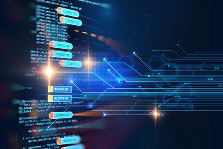 rete catena di blocco e il concetto di programmazione su sfondo tecnologia