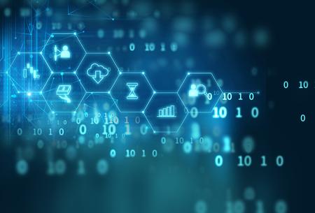 icono de Fintech en el resumen de antecedentes de la tecnología financiera y representan Blockchain concepto de tecnología Fintech internet inversión financiera. Foto de archivo