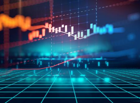 Financiële beurs grafiek op technologie abstracte achtergrond Stockfoto - 75863324