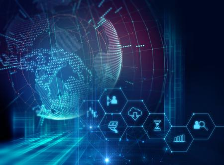 fintech icoon op abstracte financiële technologie achtergrond vertegenwoordigen Blockchain en Fintech Investment Financial Internet Technology Concept.