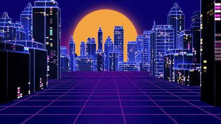 Retro futuristic skyscraper city 1980s style 3d illustration. Digital landscape in a cyber world. For use as music album cover . Stock Photo