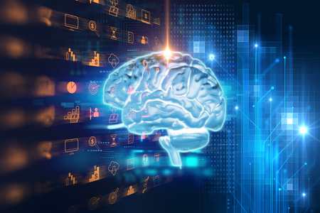 intellect: 3d rendering of human  brain on technology background  represent artificial intelligence and cyber space concept
