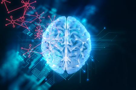 기술 배경에 인간의 두뇌의 3d 렌더링 인공 지능 사이버 공간 개념을 나타냅니다 스톡 콘텐츠
