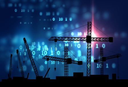 tower tall: mobile and tower cranes factory construction site with city silhouette on  technology background,3d illustration