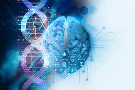 3d illustratie van hersenen op DNA-molecules abstracte technologieachtergrond, concept biochemistriy en genetische theorie.