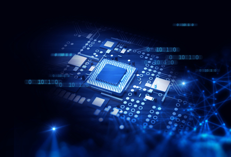 3d rendering futuristic blue circuit board background illustration Stok Fotoğraf - 76682422