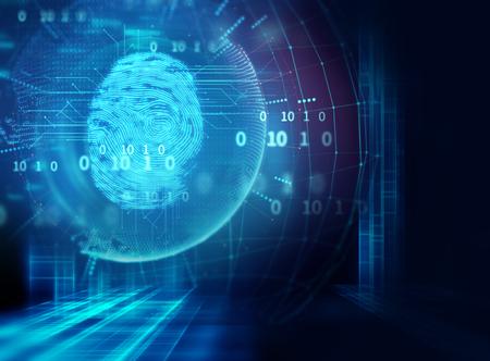 Sistema de identificación de escaneo con huellas dactilares. Autorización biométrica y concepto de seguridad empresarial. Foto de archivo