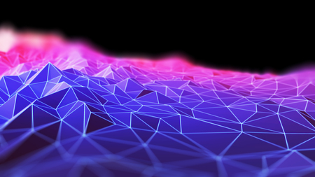 defocus: polygon on wireframe landscape abstract technology background 3d illustration  Stock Photo