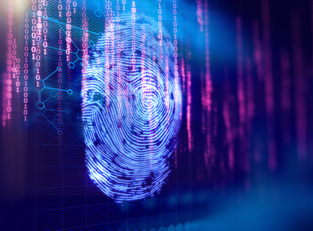 Finger print Scanning Identification System. Biometric Authorization and Business Security Concept. Stock Photo