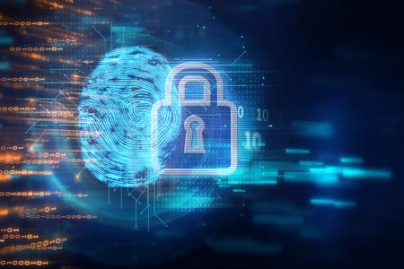 지문 스캐닝 식별 시스템. 생체 인증 및 비즈니스 보안 개념. 스톡 콘텐츠