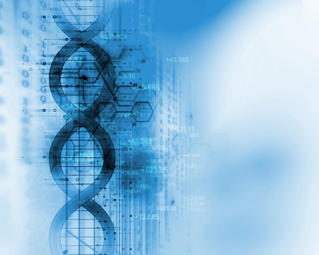 dna molecules on abstract technology background , concept of biochemistriy and genetic theory. Imagens