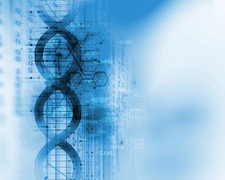 DNA-molecules op abstracte technologieachtergrond, concept biochemistriy en genetische theorie.