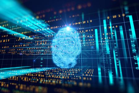 Fingerabdruck-Scan-Identifikationssystem. Biometrisches Autorisierungs- und Geschäftssicherheits-Konzept.