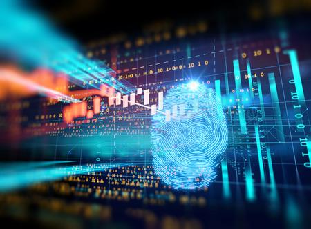 Sistema de identificación de escaneo con huellas dactilares. Autorización biométrica y concepto de seguridad empresarial.