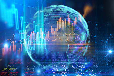 aarde, futuristische technologie, en, financieel, beursmarkt grafiek, op, technologie, abstracte achtergrond, 3d, illustratie Stockfoto