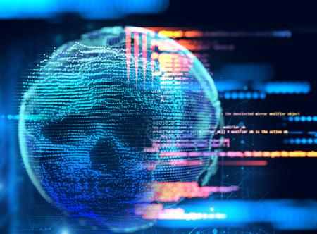 digital human skull represent  danger of cyber criminal,hacker and ransomeware  3dillustration