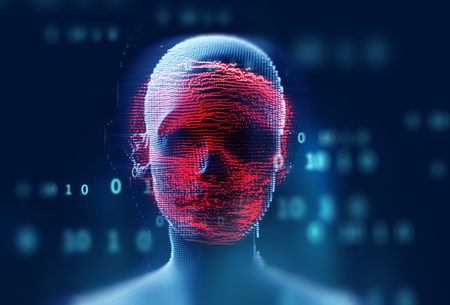 digital human skull represent  danger of cyber criminal,hacker and ransomeware  3dillustration