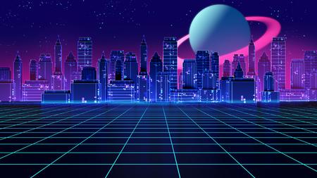 Retro futuristische 3d illustratie van de achtergrondjaren '80stijl. Digitaal landschap in een cyberwereld. Voor gebruik als cover voor muziekalbums.