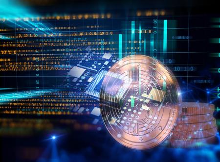 기술 배경 3d 그림에 Bitcoin 및 블록 체인 네트워크 개념