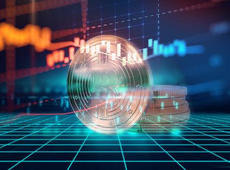Bitcoin en blokketen netwerk concept op technologie achtergrond 3d illustratie