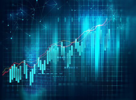 financial stock market graph on technology abstract background  Archivio Fotografico