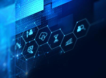 Fintech-Ikone auf abstraktem Finanztechnologiehintergrund stellen Blockchain und Fintech-Investitions-Finanzinternet-Technologie-Konzept dar. Standard-Bild - 80676790