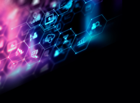 fintech icon  on abstract financial technology background represent Blockchain and  Fintech Investment Financial Internet Technology Concept. Standard-Bild