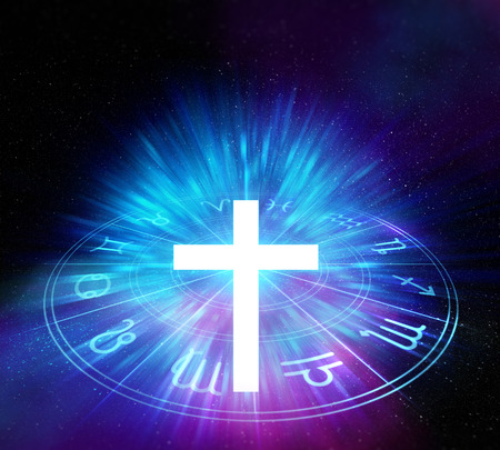 white light cross religion symbol on sacred geometry element background.Alchemy,  religion, philosophy, astrology and spirituality themes. Stock Photo