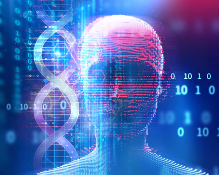 clone: dna molecules on abstract technology background , concept of biochemistriy and genetic theory.