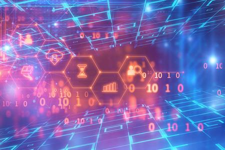 fintech ikona na pozadí abstraktních finančních technologií představují Blockchain a Fintech Investment Financial Internet Technology Concept.