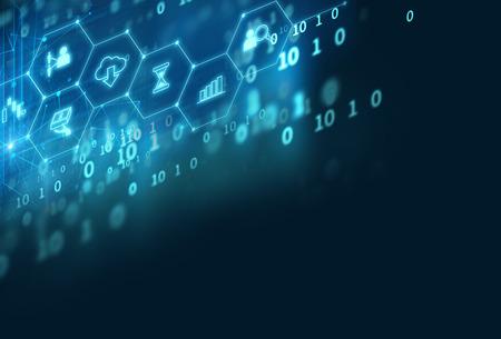 Fintech icon on abstract financial technology background représente Blockchain et Fintech Investment Financial Internet Technology Concept.
