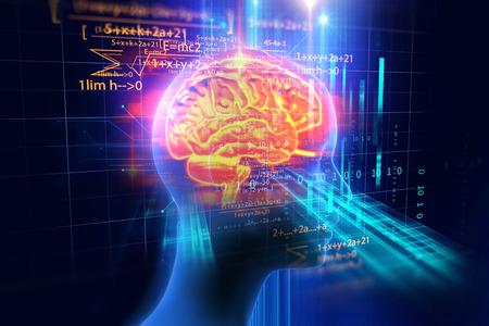 기술 배경에 인간의 두뇌의 3d 렌더링 인공 지능과 사이버 공간 개념을 나타냅니다. 스톡 콘텐츠