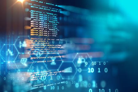 Código de programación de tecnología abstracta del desarrollador de software y la escritura por ordenador Foto de archivo - 81472179