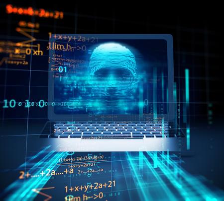 digital human hacker on laptop screen represent  danger of cyber criminal,hacker and  ransomeware 3dillustration